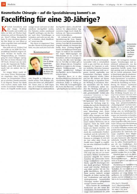 Medical Tribune: Facelift für eine 30-Jährige?
