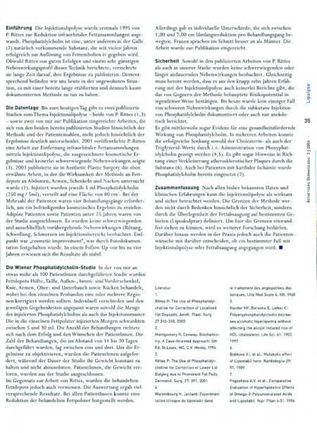 Ästhetische Dermatologie: Die Injektionslipolyse mit Phosphatidylcholin
