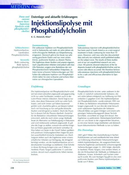 Kosmetische Medizin: Injektionslipolyse mit Phosphatidylcholin