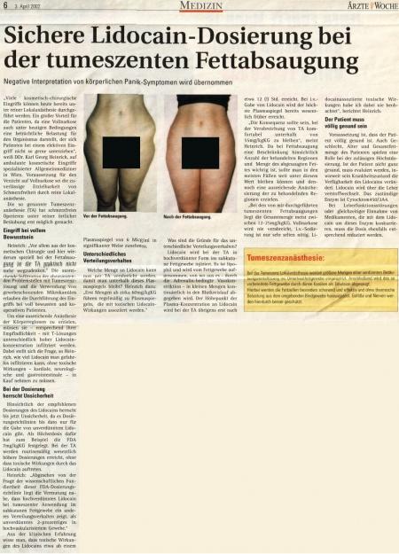 Ärzte Woche: Sichere Lidocain-Dosierung bei der tumeszenten Fettabsaugung