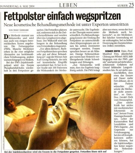 Kurier: Fettpolster einfach wegspritzen