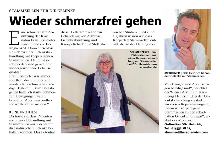 Wiener Bezirksblatt: Wieder schmerzfrei gehen