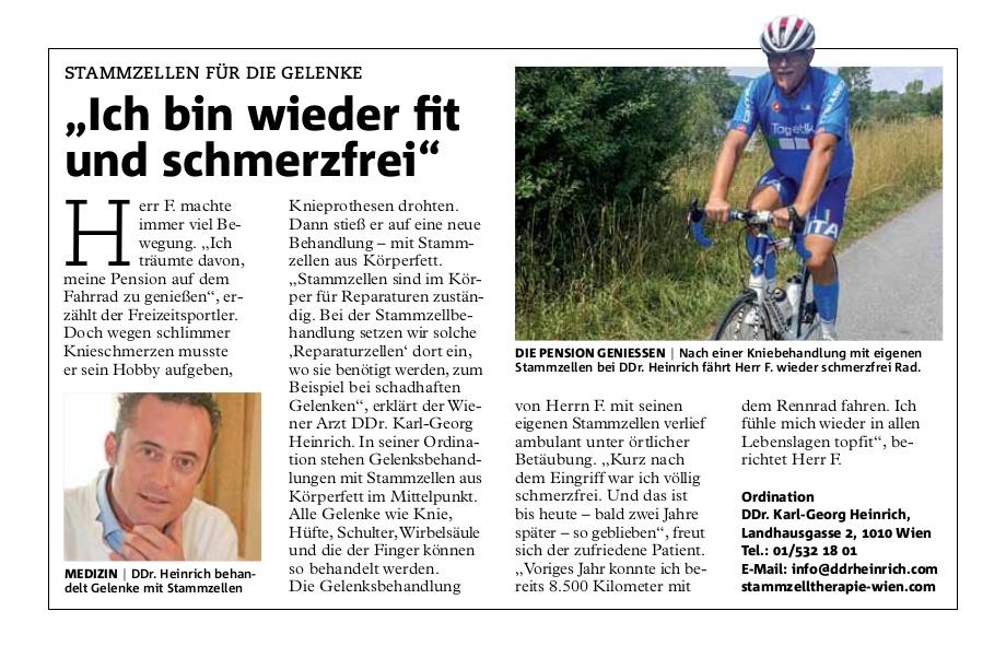 """Wiener Bezirksblatt: Stammzellen für die Gelenke: """"Ich bin wieder fit und schmerzfrei"""""""