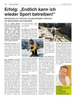 """stadtlandzeitung: Erfolg: """"Endlich kann ich wieder Sport betreiben!"""""""