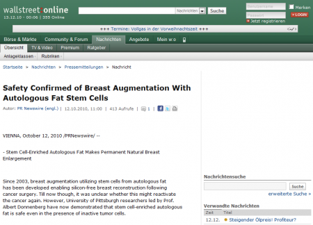 Wallstreet:online: Safety Confirmed of Breast Augmentation With Autologous Fat Stem Cells