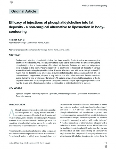 Indian Journal of Plastic Surgery: Efficacy of injections of phosphatidylcholine into fat deposits