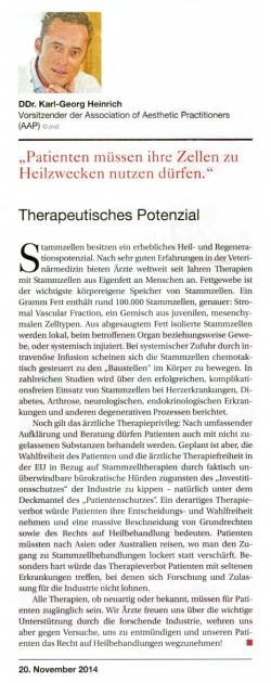 """Ärzte Woche: Zelltherapie: """"Investorenschutz"""" für die Pharmaindustrie?"""